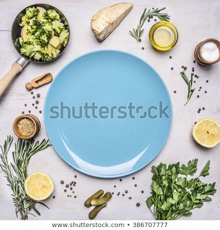 органический зеленый лук синий пластина белый Top Сток-фото © marylooo