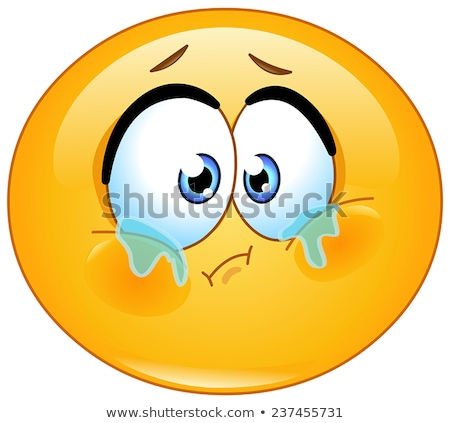 Sad, teary emoji vector illustration Stock photo © barsrsind