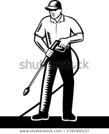 Erő alátét nyomás mosás retro feketefehér Stock fotó © patrimonio