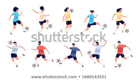Athletic soccer player teenage girl foot on ball Stock photo © darrinhenry