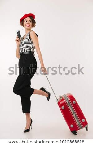 souriant · femme · passeport · valise · isolé - photo stock © Qingwa
