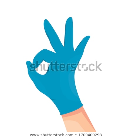 Hand in blue glove OK sign isolated on white background. stock photo © borysshevchuk