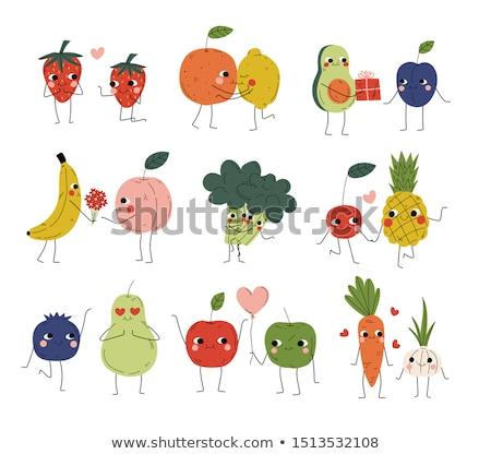 meyve · komik · karikatür · gülümseme · okul - stok fotoğraf © adrian_n