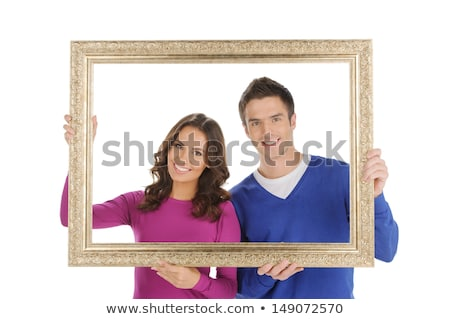 Attractive couple with frame Stock photo © photography33