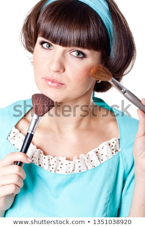 brunet woman with two make-up brushes  Stock photo © marylooo