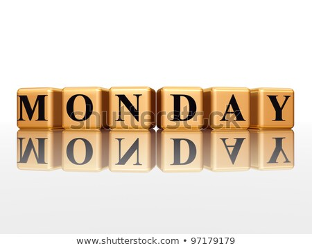 monday in 3d golden cubes Stock photo © marinini