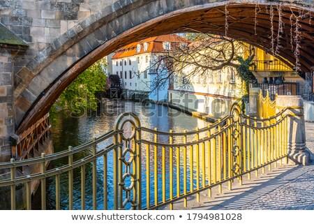 Praga · canal · água · roda · noite · ver - foto stock © searagen