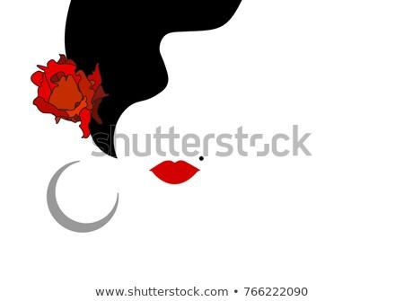 Espanhol mulher estilo flamenco flor dançar Foto stock © carodi