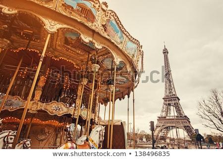 Carrousel Parijs vintage witte paarden papier Stockfoto © cla78