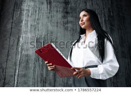 Mujer de negocios mirando adelante lejos feliz sonriendo Foto stock © feedough