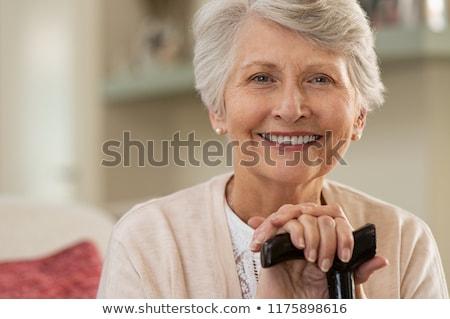 Yaşlı kadın açık havada portre yüz yaşlı elbise Stok fotoğraf © Lessa_Dar