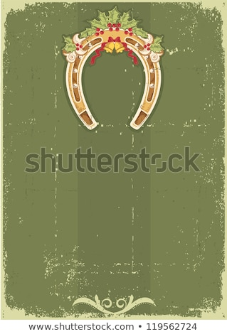 horseshoes in green old paper background Stock photo © marinini