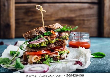 Турция ветчиной трехслойный бутерброд белый блюдо продовольствие Сток-фото © saddako2