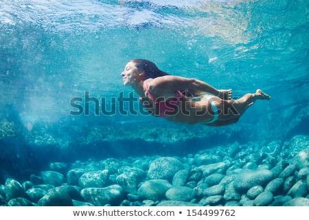 mulher · natação · jovem · africano · boné - foto stock © zzve