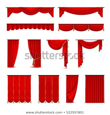 kırmızı · perde · beyaz · çerçeve · sahne - stok fotoğraf © milsiart