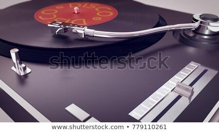gramofon · 3d · render · egy · ősi · fa · asztal · barna - stock fotó © elenarts