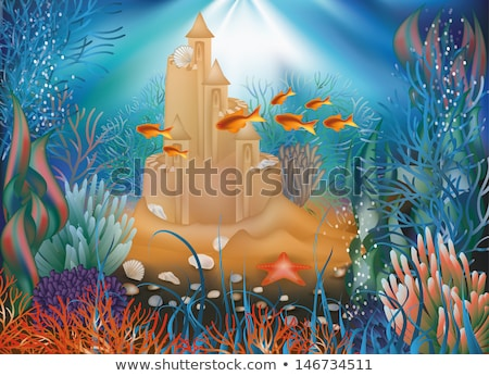 Underwater world wallpaper with sandcastle, vector illustration Stock photo © carodi