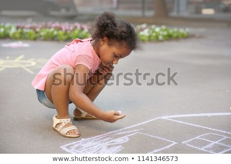Child's sidewalk chalk drawing of a person Stock photo © inxti