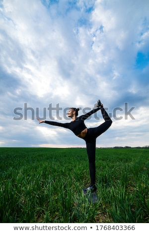 woman does a gymnastic handstand Stock photo © stepstock