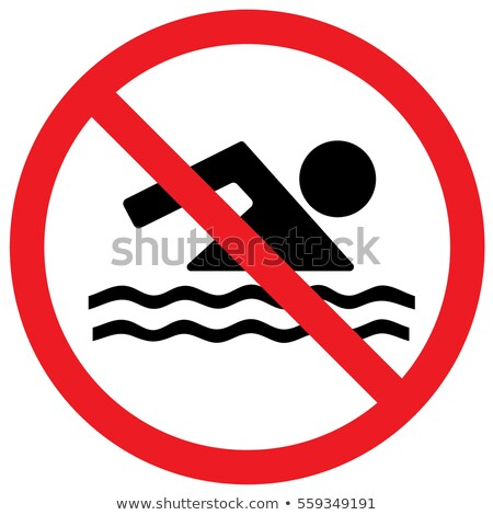 Nem felirat veszély zászló úszik tengerpart Stock fotó © HerrBullermann