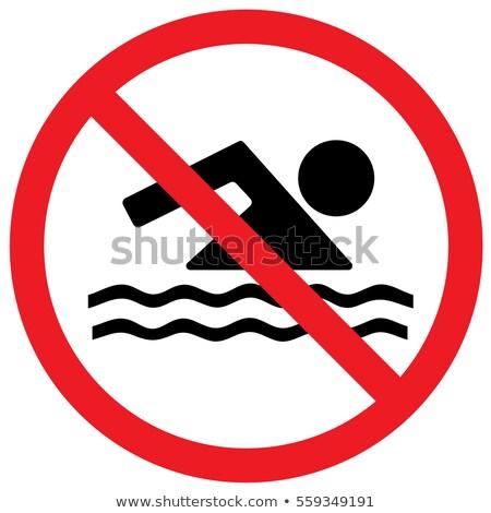geen · zwemmen · teken · bank · vijver · strand - stockfoto © herrbullermann
