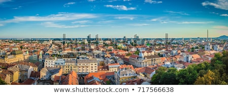 Panorámica Zagreb vista ciudad cielo árbol Foto stock © smuki