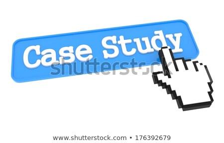 Geval studie knop hand cursor Blauw Stockfoto © tashatuvango