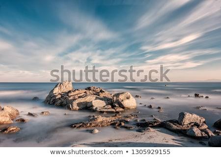 Корсика · закат · пород · передний · план · пляж · Средиземное · море - Сток-фото © joningall