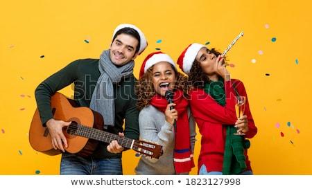 üç Noel arkadaşlar vektör noel baba kardan adam Stok fotoğraf © LittleLion