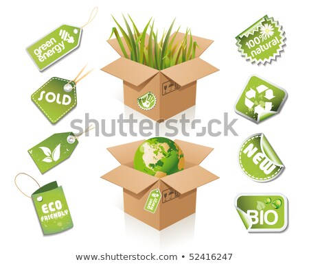 Paper box - eco idea with stickers and tags Stock photo © Lota