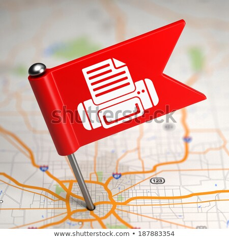 Printer Sign - Small Flag on a Map Background. Stock photo © tashatuvango