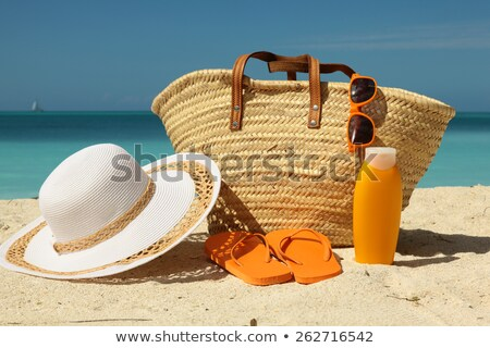 Beach bag towel and hat on the sand Stock photo © lovleah