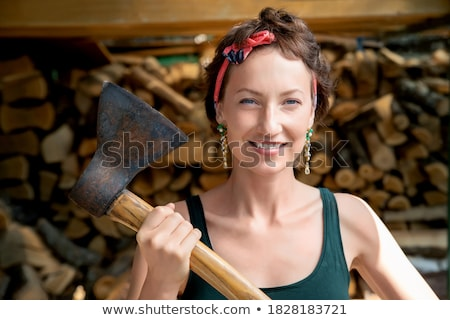 brunette with axe Stock photo © 26kot