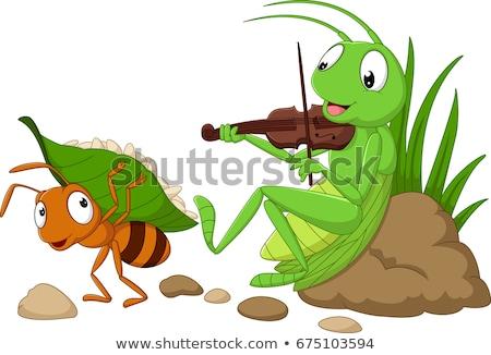 муравей кузнечик прослушивании песня музыканта градиенты Сток-фото © Davorr