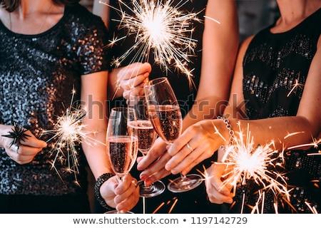 Szampana szczęśliwego nowego roku strony szczęśliwy zabawy butelki Zdjęcia stock © -Baks-