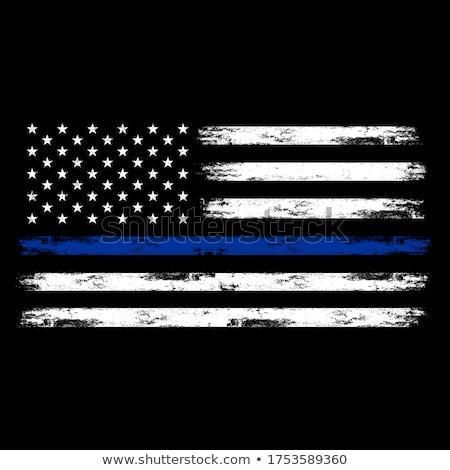 Delgado azul línea bandera aplicación de la ley símbolo Foto stock © tony4urban