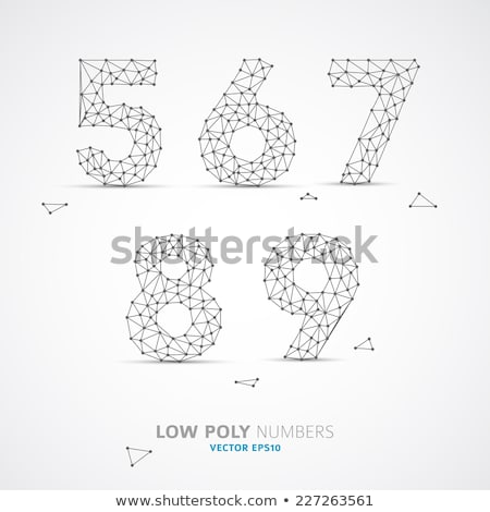 vector low poly wired numbers font stock photo © orson