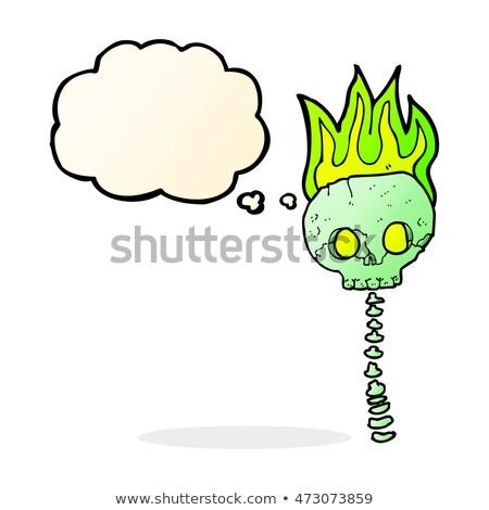 Cartoon cranio colonna vertebrale bolla di pensiero mano Foto d'archivio © lineartestpilot