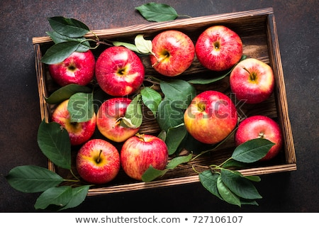 Fresh Red Apples on Wooden Tray at the Table Stock photo © ozgur