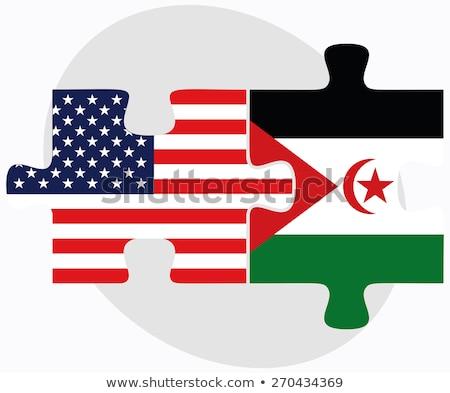 Stock fotó: USA · western · Szahara · zászlók · puzzle · vektor