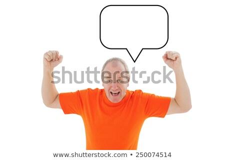 Dojrzały mężczyzna pomarańczowy tshirt biały t-shirt Zdjęcia stock © wavebreak_media