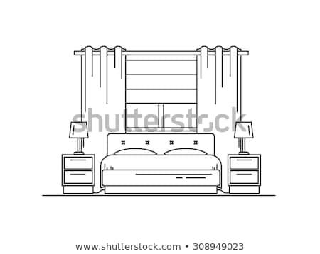 Tekening slaapkamer meubels hout ontwerp home Stockfoto © shawlinmohd