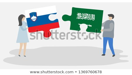 サウジアラビア スロベニア フラグ パズル 孤立した 白 ストックフォト © Istanbul2009