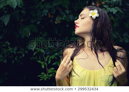 Attractive woman in wet dress with falling water Stock photo © Aikon