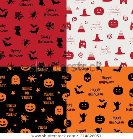 sem · costura · halloween · fantasma · abóboras · padrão · preto - foto stock © voysla