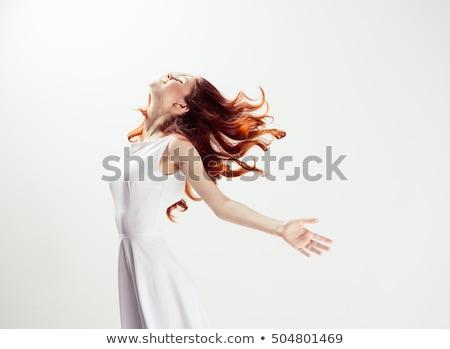 érett nő fehér ruha tenger portré vonzó áll Stock fotó © roboriginal