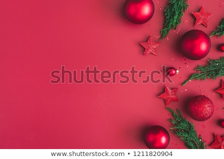 Christmas Rood decoraties witte frame teken Stockfoto © -Baks-