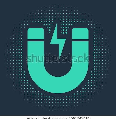 магнит зеленый вектора икона дизайна цифровой Сток-фото © rizwanali3d