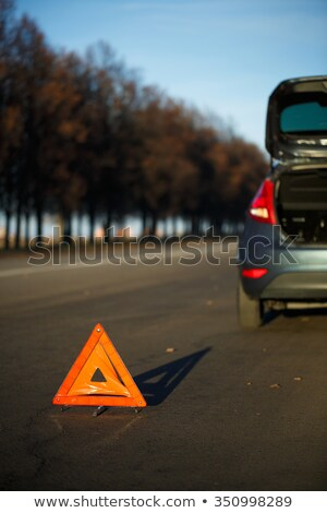 Red warning triangle with the broken down ca Stock photo © vlad_star
