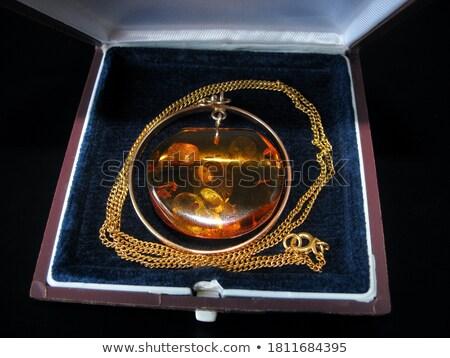 Zdjęcia stock: Orange Amber Gemstone And Diamond Ring